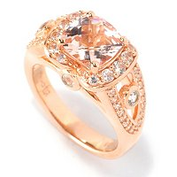 SS/18K ROSE VERMEIL RING MORGANITE CUSHION & WHT SAPH