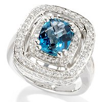 SS/PLAT RING LONDON BLUE TOPAZ & WHT SAPH