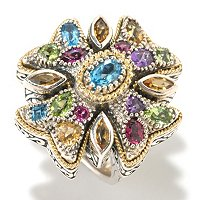 SS/18K MULTI-GEMSTONE CROSS RING
