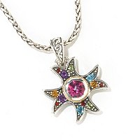 "SS MULTI GEMSTONE CROSS PENDANT W/ 18"" CHAIN"