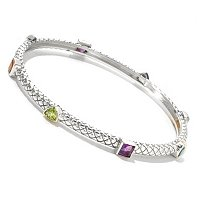 SS MULTI SHAPE GEMSTONE BANGLE