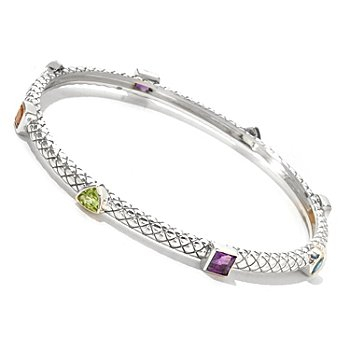 125-529 - Sterling Artistry by EFFY 8.5'' Multi Gemstone Geometric Bangle Bracelet