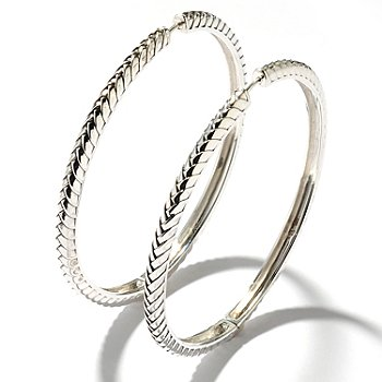 125-531 - Sterling Artistry by EFFY 2.25'' Textured & Polished Hoop Earrings