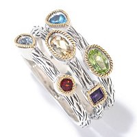 SS/18k MULTI GEMSTONE 3-ROW SCATTER RING