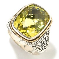 SS/18K LEMON QTZ CENTER RING