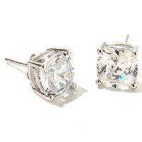 BLTA SS/PLAT CUSHION CUT STUD EARRINGS