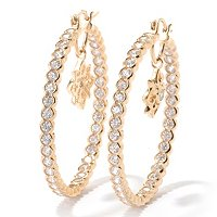 SB SS/CHOICE ROUND CUT SEMI BEZEL HOOP EARRINGS WITH STAR DROP