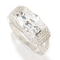 BLTA SS/PLAT TENSION SET FANCY OVAL & ROUND CUT SPLIT SHANK RING