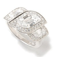 BLTA SS/PLAT FANCY FLAME CUT THREE STONE HALO RING