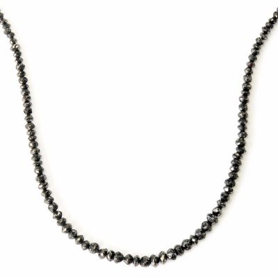 "125-590 - Diamond Treasures 14K Gold 18"" 24ctw Black Rough Diamond Necklace"