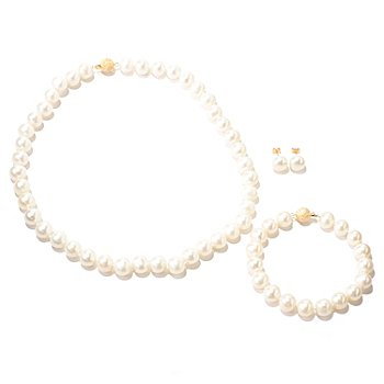 125-593 - 14K Gold 10-11mm Freshwater Cultured Pearl Necklace, Bracelet & Earrings Set