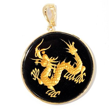 125-594 - 35mm Hand Carved Black Onyx Dragon Enhancer Pendant