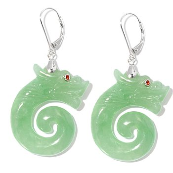 125-595 - Sterling Silver Carved Green Jade Dragon Leverback Earrings