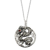 SS WHITE TOPAZ DRAGON PENDANT w/CHAIN
