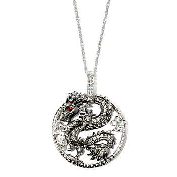 125-597 - Sterling Silver Garnet & White Topaz Dragon Circle Pendant w/ Chain