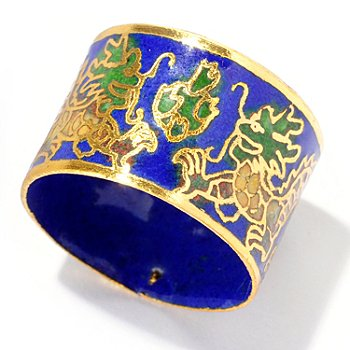 125-603 - Dark Blue Cloisonne Gold-tone Dragon Wide Band Ring