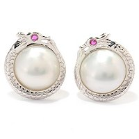 SS 11-11.5mm WHITE MABE w/RUBY EYE DRAGON EARRINGS