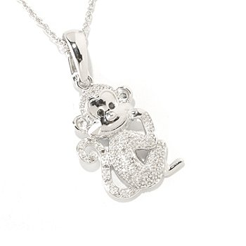 125-609 - NYC II .11ctw White & Black Diamond Monkey Pendant w/ 18'' Chain