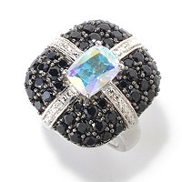 SS/PLAT RING EXOTIC TOPAZ w/ BLACK SPINEL & WHITE ZIRCON