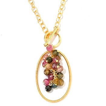 125-614 - Kristen Amato 11.95ctw Tourmaline Cluster Drop Pendant w/ Chain & Toggle Clasp