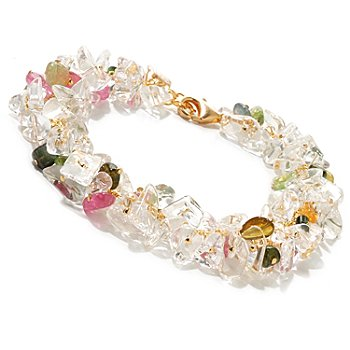 125-616 - Kristen Amato 8'' Multi Color Tourmaline & Rock Crystal Bracelet