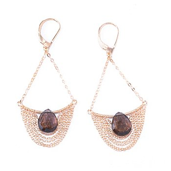 125-618 - Kristen Amato 5.30ctw Smoky Quartz Chain Swag Drop Earrings