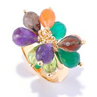 KA - SS/18KGP RING MULTI GEMSTONE CLUSTER