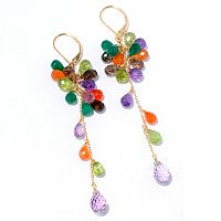 KA - SS/18KGP EAR MULTI-GEMSTONE CLUSTER DROP LEVER BACK