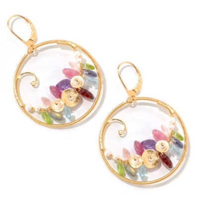 125-623 - Kristen Amato 31.66ctw Multi Gemstone Lever Back Hoop Earrings