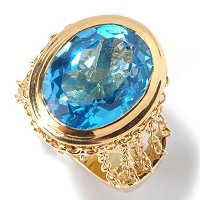 KA - SS/18KGP RING SWISS BLUE TOPAZ CHAIN LINK GALLERY