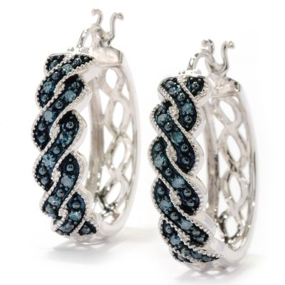 125-634 - Diamond Treasures Sterling Silver 0.25ctw Diamond Fancy Twist Hoop Earrings