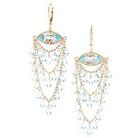KA-SS/18KGP EAR WIRE WRAPD BLU TOP MARQUISE/BRIOLETTE CHANDELIER LEVER BACK