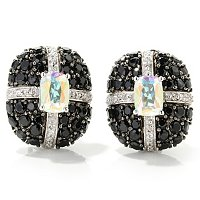 SS/PLAT EAR GEM w/ BLK SPINEL & WHT ZIRCON OMEGA BACKS
