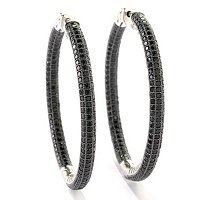 "SS BLACK SPINEL 2"" INSIDE OUT HOOP EARRING WITH CLICKER BACK"