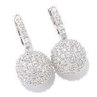 SB SS/PLAT ROUND CUT PAVE BALL DROP EARRINGS
