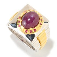 MEN'S - SS/PALL RING SIX-RAY STAR RUBY