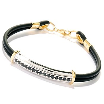 125-648 - Men's en Vogue II 1.20ctw Black Spinel Dual Cord Bracelet