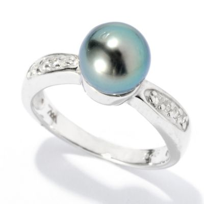 125-654 - Sterling Silver 7-8mm 0.04ctw Black Tahitian Cultured Pearl & Diamond Ring