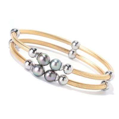 "125-655 - Stainless Steel 7"" 7-8mm Black Tahitian Cultured Pearl Double Row Bangle Bracelet"