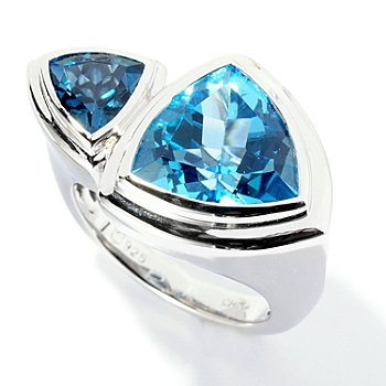 125-664 - Gem Insider Sterling Silver 6.40ctw Blue Topaz Double Trillion Wrap Ring
