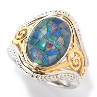 SS WITH YG PLATED ACCENT MOSAIC OPAL DOUBLET RING