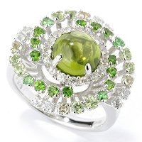SS ROUND PERIDOT WITH SHADED ACCENT RING