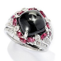 SS BLACK STAR DIOPSIDE GARNET ACCENTS RING