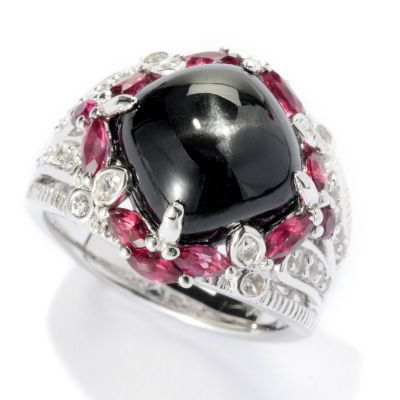 125-678 - Gem Insider Sterling Silver 11 x 11mm Black Star Diopside & Multi Gem Ring