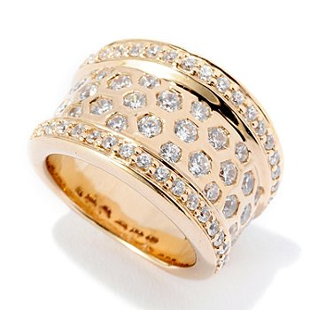 125-683 - Sonia Bitton for Brilliante® 1.62 DEW Round Cut Hexagon Burnished Set Ring