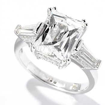 125-684 - TYCOON for Brilliante® Platinum Embraced™ 4.27 DEW Rectangle & Tapered Baguette Ring