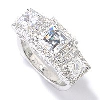 TYCOON SS/PLAT SQUARE TYCOON CUT THREE STONE HALO RING