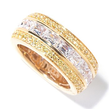 125-689 - TYCOON 4.65 DEW Rectangle & Round Simulated Diamond Three-Row Eternity Band Ring