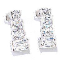 TYCOON SS/PLAT ROUND, SQUARE, ROUND TYCOON CUT SEMI BEZEL DROP EARRINGS