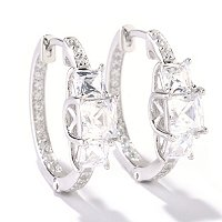 TYCOON SS/CHOICE THREE STONE HOOP EARRINGS